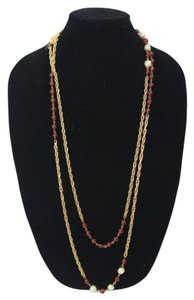 Chanel Necklace Sautoire Gold Rope Chain Ruby Red Gripoix 70