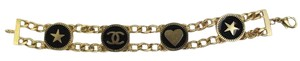 Chanel Double Chain Bracelet Gold Black Enamel with Hearts Stars CC Logo