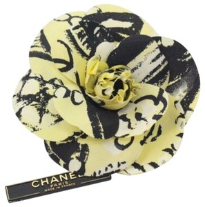 Chanel Silk Camellia Brooch in Yellow and Black NEW