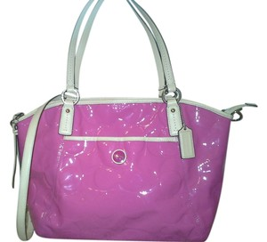 Coach Embossed Patent Leather Satchel in Mulberry Pink