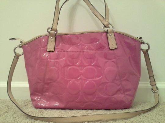 Coach Embossed Pink Patent Leather Satchel in Mulberry Pink