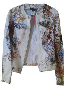 Just Cavalli white with print Womens Jean Jacket