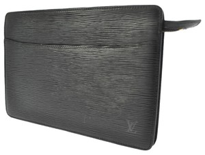 Louis Vuitton Pouchette Homme Epi Black Brown Travel Bag