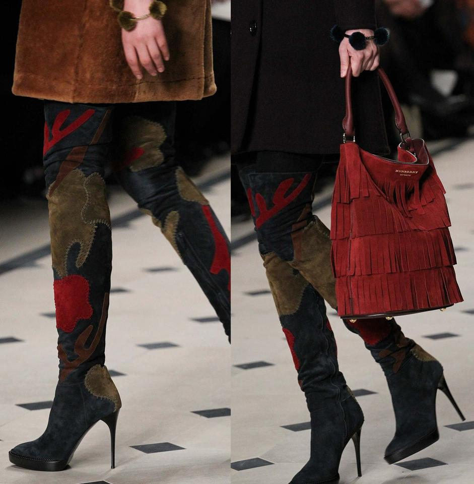 507927d9bb8 Burberry Autumnal Hues New Runway Allison Patchwork Over-the-knee Suede  Boots Booties Size US 9 Regular (M