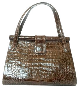 Nancy Gonzalez Crocodile Handbag Satchel in Brown