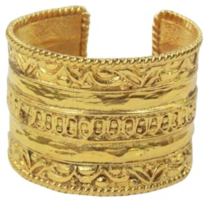 Chanel Vintage Ornate Gold Cuff Signature Bracelet 1980's
