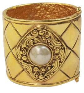 Chanel Cuff Bracelet Iconic Quilted Pattern Medallion and Pearl Center
