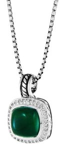 David Yurman Albion Pendant with Green Onyx and Diamonds Hinged Bale