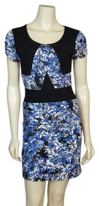 Parker short dress black and multi-colored (Blue, white, green, gray and black) on Tradesy