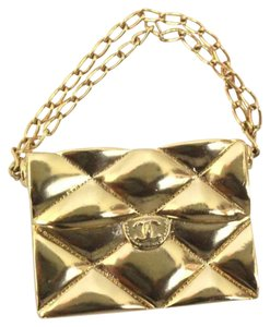 Chanel 2.55 Double Flap Bag Brooch in Gold with Chain Strap