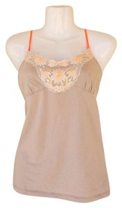 American Eagle Outfitters Mesh Floral Spaghetti Top tan, orange
