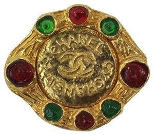 Chanel Vintage Chanel Brooch Cranberry and Green Gripoix