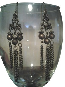 Handmade EARRINGS Antiqued Brass Chandelier Chain Dangle Boho Bridal