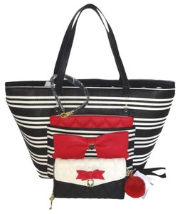 Betsey Johnson Cross Body Wallet Tote in black/bone stripe/red bow