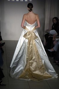 Lazaro 3465 Low Back Aline Strapless Gold Sash Streamers Silk Satin Lazaro Wedding Dress