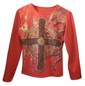 Miss Sixty Long Sleeve Dragon T Shirt Red