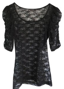 Express Sheer Lace Floral Top Black