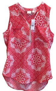 New York & Company Top Red and white