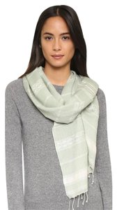 Tory Burch LOGO JACQUARD STRIPE SCARF green acre