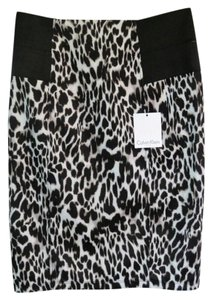Calvin Klein New With Tags Pencil Leopard Skirt Black and White