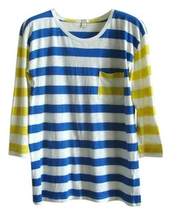 J.Crew Striped Stripe Striped Shirt T Shirt yellow and blue multi