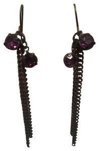 KATTA Boutique HANDMADE Bronze EARRINGS Purple Rhinestones & Chains NWOT Original Design