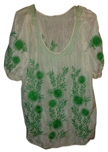 Juicy Couture Chiffon Floral Paisley Top green, beige