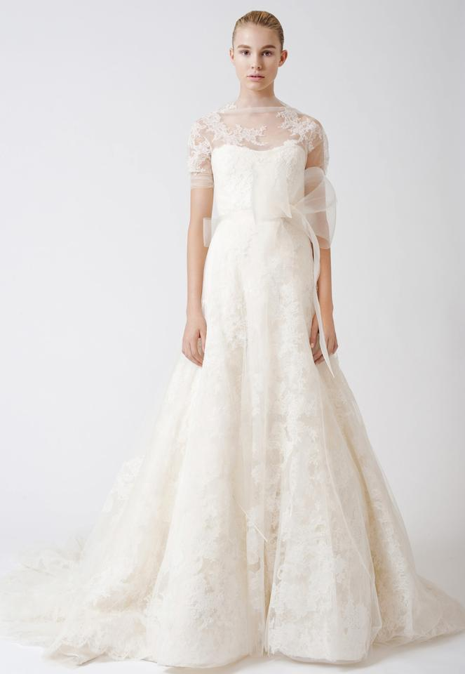 19e31edcf41a5 Vera Wang Ivory Layers Of Lace Tulle Silk Organza Esther Traditional Wedding  Dress Size 2 ...