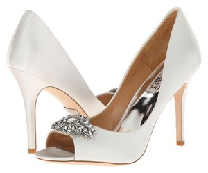 Badgley Mischka Platform White Pumps