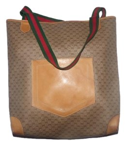 Gucci Tote in small G logo print canvas & leather in shades of brown