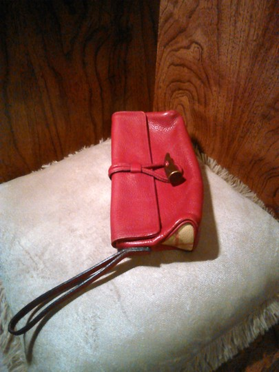 Burberry London Leather Red Clutch Image 1