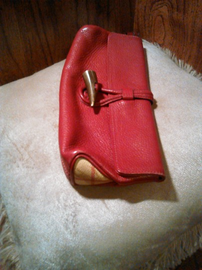Burberry London Leather Red Clutch Image 2
