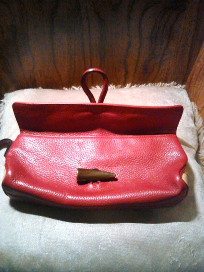 Burberry London Leather Red Clutch Image 4