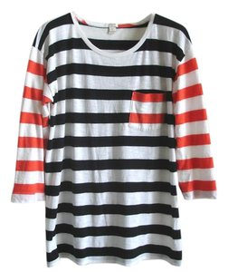 J.Crew Striped Stripe Striped Blue T Shirt red and black multi