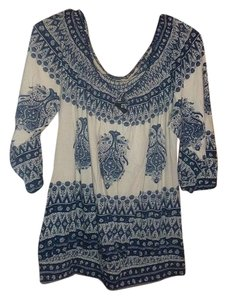 Lucky Brand Boho Paisley Top blue,beige