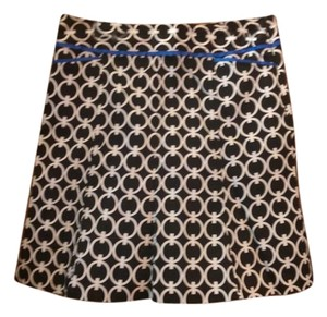 Willi Smith Circles Bold Print Cotton Skirt Black, white, cobalt