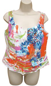 Coldwater Creek Silk Vest Floral Hand Finished Top White/Multi