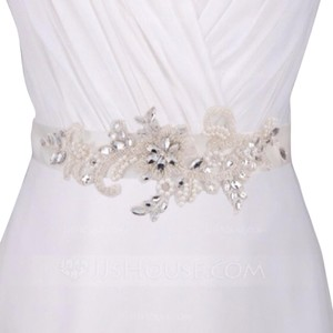 David's Bridal White Ribbon New Belt Sash