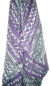 Alfani ETERNITY SCARF Warm Winter wrap PURPLE Striped black grey marled knit