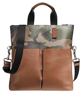 Coach Tote in Saddle and Green Camoflague