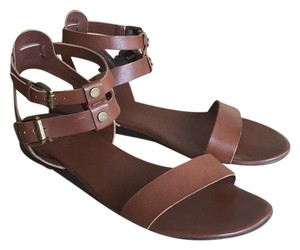 Franco Sarto Ankle Strappy Flat Gladiator Ethnic Brown Sandals