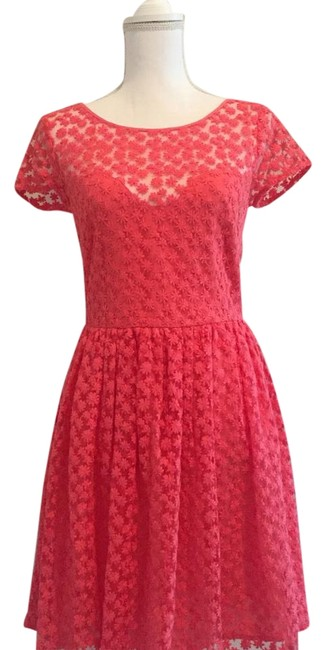 Nicole Miller Pink Artelier Coral Flora Embroidered Sweetheart Mid-length Short Casual Dress Size 4 (S) Nicole Miller Pink Artelier Coral Flora Embroidered Sweetheart Mid-length Short Casual Dress Size 4 (S) Image 1