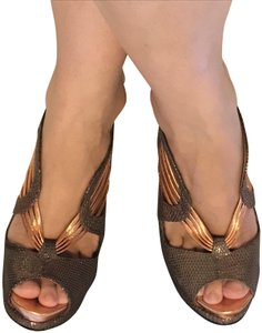 Nicholas Kirkwood Leather Art Deco Rose Gold Sandals