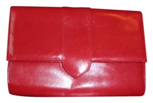 Caressa Leather True Red Clutch