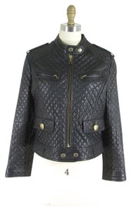 Dolce&Gabbana Leather Moto Quilted Leather Jacket