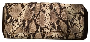 Lauren Merkin Black And Beige Snakeskin Clutch