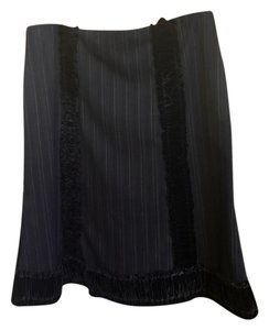 Nanette Lepore Velvet Striped Pencil Skirt Black