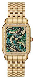 Michele NEW Deco II Diamond Green Bijoux Dial Gold MWW06X000021 Ladies Watch