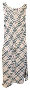 Multicolor Maxi Dress by Burberry London Linen Tie Sleeveless Plaid