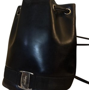 Salvatore Ferragamo Black Leather Backpack Small authentic Backpack